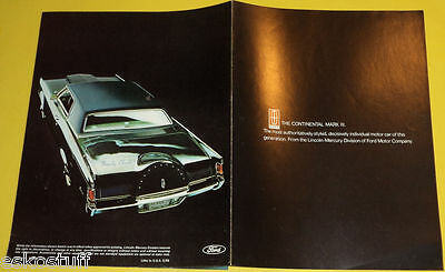 Lincoln Continental Mark IV Cars 1968 Special Model Auto Sales Brochure Pics See