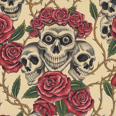 Skulls and Roses on Cream Quilt Fabric FQ or Metre *New*