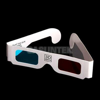 100 Pairs Anaglyph Red-Cyan (Blue) 3 DimensionaL 3D Video Glasses for 3D Game
