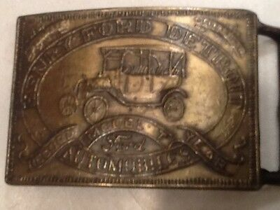 Vintage Ford Model T Brass Belt Buckle Henry Ford Detroit Free shipping!