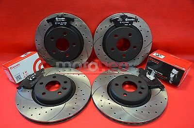 Front Rear Performance Drilled Grooved Brake Discs + Pads Kit Ford Focus St225