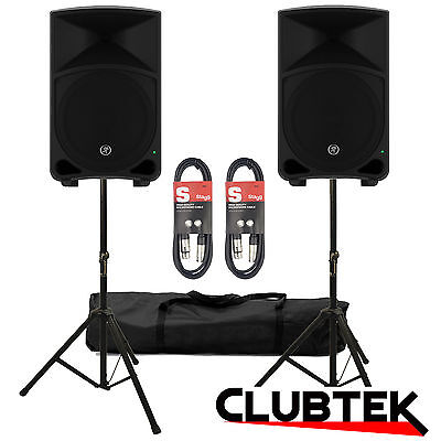 Pair (2 x) Mackie Thump 15 1000W Active Powered Speakers FREE Stands 10m Leads