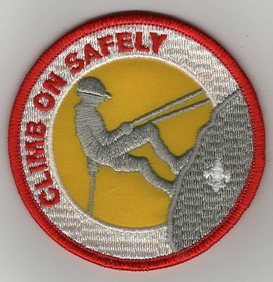"""""""Climb On Safely"""" Activity Patch, Clear Plastic Backing, Mint!"""