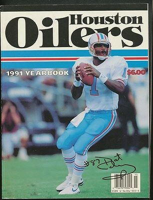 1991 HOUSTON OILERS HAND SIGNED YEARBOOK (6) w/COLEMAN, BURROUGHS, FULLER