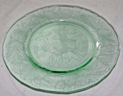 3 Vintage Green Luncheon Plates by MacBeth Evans Glass Co., Dogwood