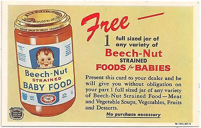 Beech-Nut Baby Food Promotional Advertising Card