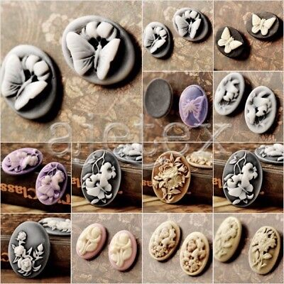 diy resin oval Cabochon flatback colourful flower butterfly animal vintage style