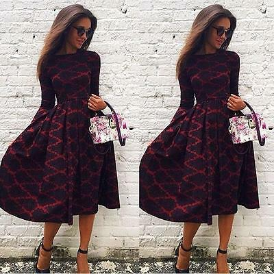 Women Sexy Bodycon Evening Cocktail Party Lady Long Sleeve Floral Maxi Dress New