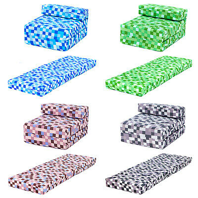 Pixels Kids Foam Fold Out Sleep Over Guest Single Futon Chair Sofa Z Bed Seat