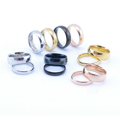 Men's Women's Stainless Steel, Black or 18k Gold High Polished Wedding Band Ring