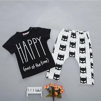 Toddler Kids Baby Boys Girls T-shirt Tops+Pants Trousers 2pcs Set Outfit Clothes
