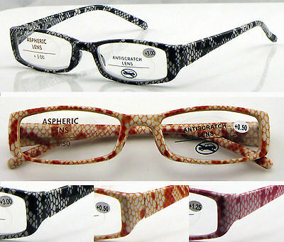 L12 High Quality Reading Glasses/Spring Hinges & Snake Skin Pattern Style Design