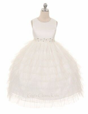 New Ivory Flower Girls Princess Dress Prom Wedding Party Pageant Bridesmaid 8050