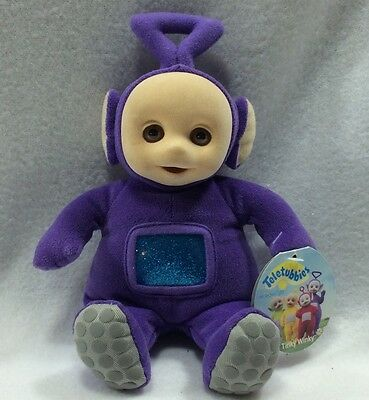 "Eden Tinky Winky Teletubbies Plush w/Tag Bean Bag 1998 Purple 8"" Flocked Face"
