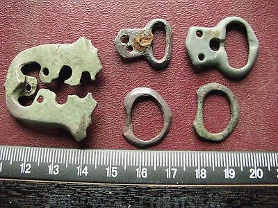 Authentic Ancient Artifact > Lot of 5 - Medieval Bronze belt buckles   13366