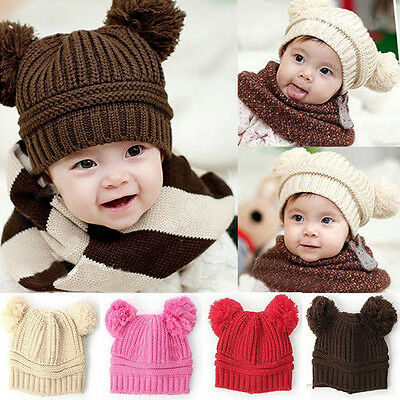 Baby Toddler Winter Beanie Warm Hat Crochet Ball Earflap Knitted Cap Girls Boys