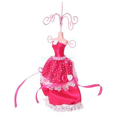 Shocking Pink Lace Gown Mannequin Earring Jewelry Display Holder Stand Tree Rack