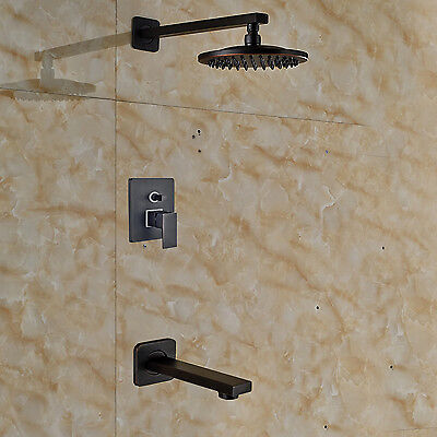 "New 8"" Rainfall Oil Rubbed Bronze Shower Faucet W/ Tub Spout Mixer Wall Mounted"