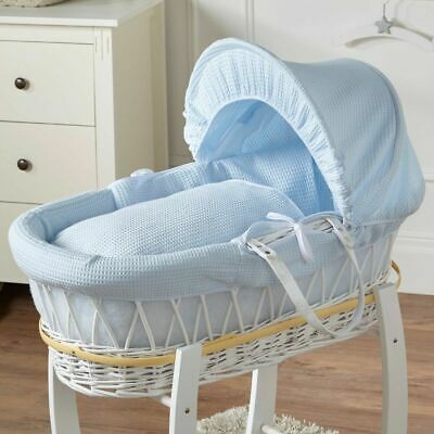 Brand New-Deluxe Padded Moses Basket Blue Waffle White Wicker
