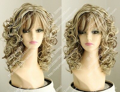 MERMER NEW FASHION Wig Charm Women s Long Brown Mix Blonde Curly ... 657842f982a0
