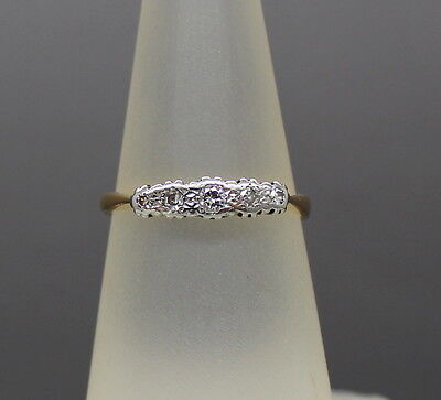 18Ct & Platinum Diamond Five Stone Ring, 1940's, Size N, Eternity Engagement 18K