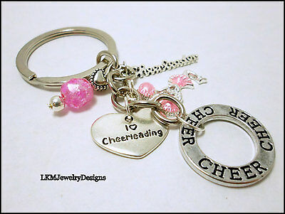 Cheer-leading Keychain Jewelry, Heart, Cheer, Cheer-leader Keyring  USA Seller