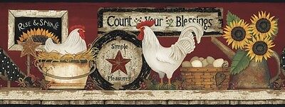 CB5538BD Hen and Rooster Border Country Floral Rooster Wallpaper Border