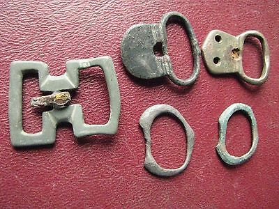 Authentic Ancient Artifact > Lot of 5 - Medieval Bronze belt buckles   13341