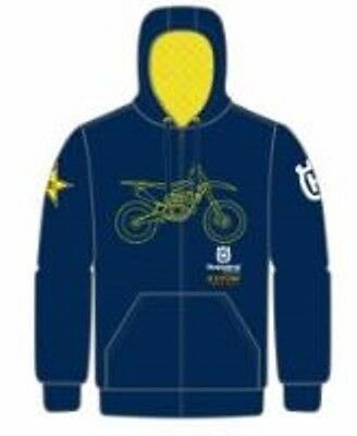 New Husqvarna Race Graphic Hoodie Blue Men's Logo Hoodie Now $79.99 Free Ship!