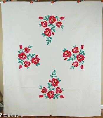 WELL QUILTED Vintage 30's Rose Applique Antique Quilt ~GREAT CONDITION!