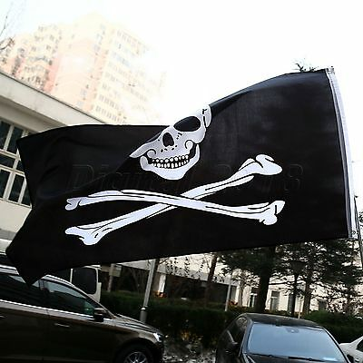 Large Skull And Crossbones Pirate Flag Jolly Roger Hanging With Grommets 5x3 ft