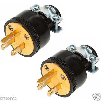 2pc Heavy Duty 3-Prong Male Extension Cord Electrical Plug Replacement 125V 15A