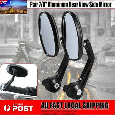 "New 7/8"" Aluminum Rear View Side Mirror Handle Bar End Oval Black For Motorcycle"