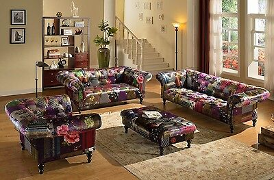 Brand New Anna Scroll Chesterfield Luxury Fabric Patchwork Sofa Suites