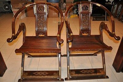 Fine Pair Of Antique Chinese Hardwood Folding Hunters Chairs