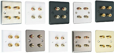 Audio Speaker AV Wall Face Plate  4 Terminal with Binding Posts for Banana Plugs