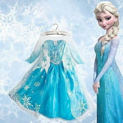 Kids Girls PRINCESS ELSA Dress FROZEN Queen Cosplay Costume Fancy Dress&Crown