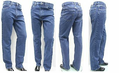 Mens Jeans Regular Straight Fit Heavy Denim Work Casual Midwash W40 42 44 46 48