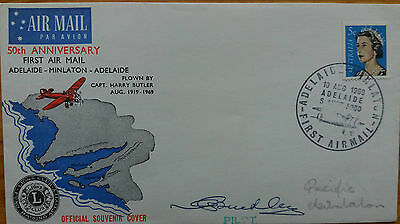Australia 1969 50Th Anniversary Of First Airmail Pilot Signed Cover Minlaton