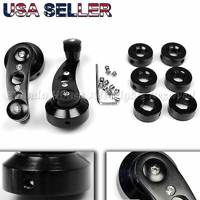 For Chevrolet! Aluminum Crystal Look! Usa Anodized Black Window Cranks Winders