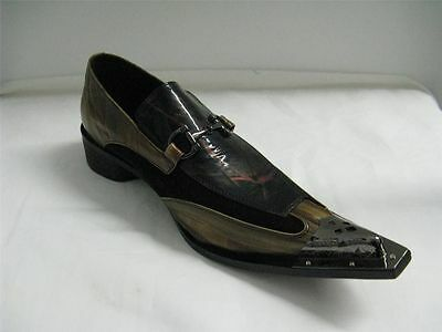 Men/'s New Fiesso Brown//Yellow Slip on Shoes Silver Pointed Metal Toe FI 6908