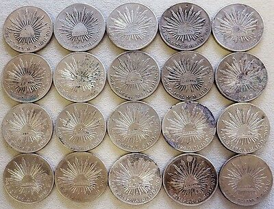 (20) 1863 - 1898 Silver Mexico 8 Reales / Pesos Cap & Rays Coins High Grade Lot