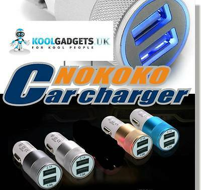 3.1A Metal Dual USB Car Charger Universal Charging For Phones,tabs, in 4 colours