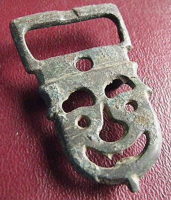 Authentic Ancient Artifact   8th Century Byzantine Bronze belt buckle 13392