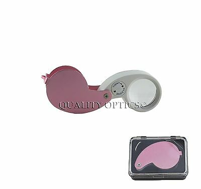 Ladies Pink 30X Fold Out Jewelers Loupe Magnifier Magnifying Glass Real Doublet