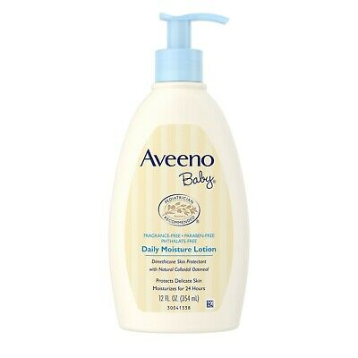 AVEENO Baby Daily Moisture Lotion Fragrance Free 12 oz (Pack of 8)
