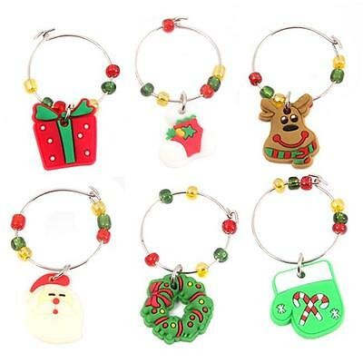 1Set New Christmas Wine Glass XMAS Charms Ornament Table Decorations Gifts 6L
