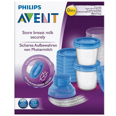 Avent - Breast Milk Storage Cups 10 Reusable Containers with Lid 180ml  - Baby