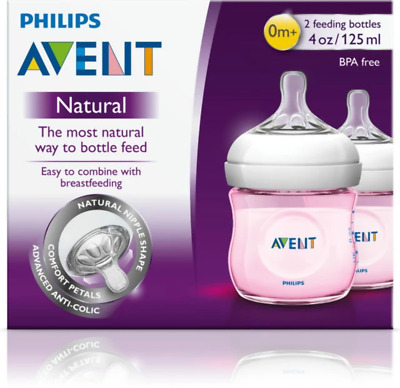 Avent - Natural Feeding Bottle 0 Month Teat PINK 125ML 2 PACK Baby Girl Milk