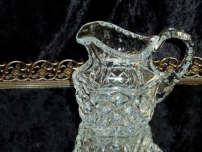 Outstanding Vintage Hand Cut Classic Diamond Cut  Crystal Milk Jug  Bohemia C 19